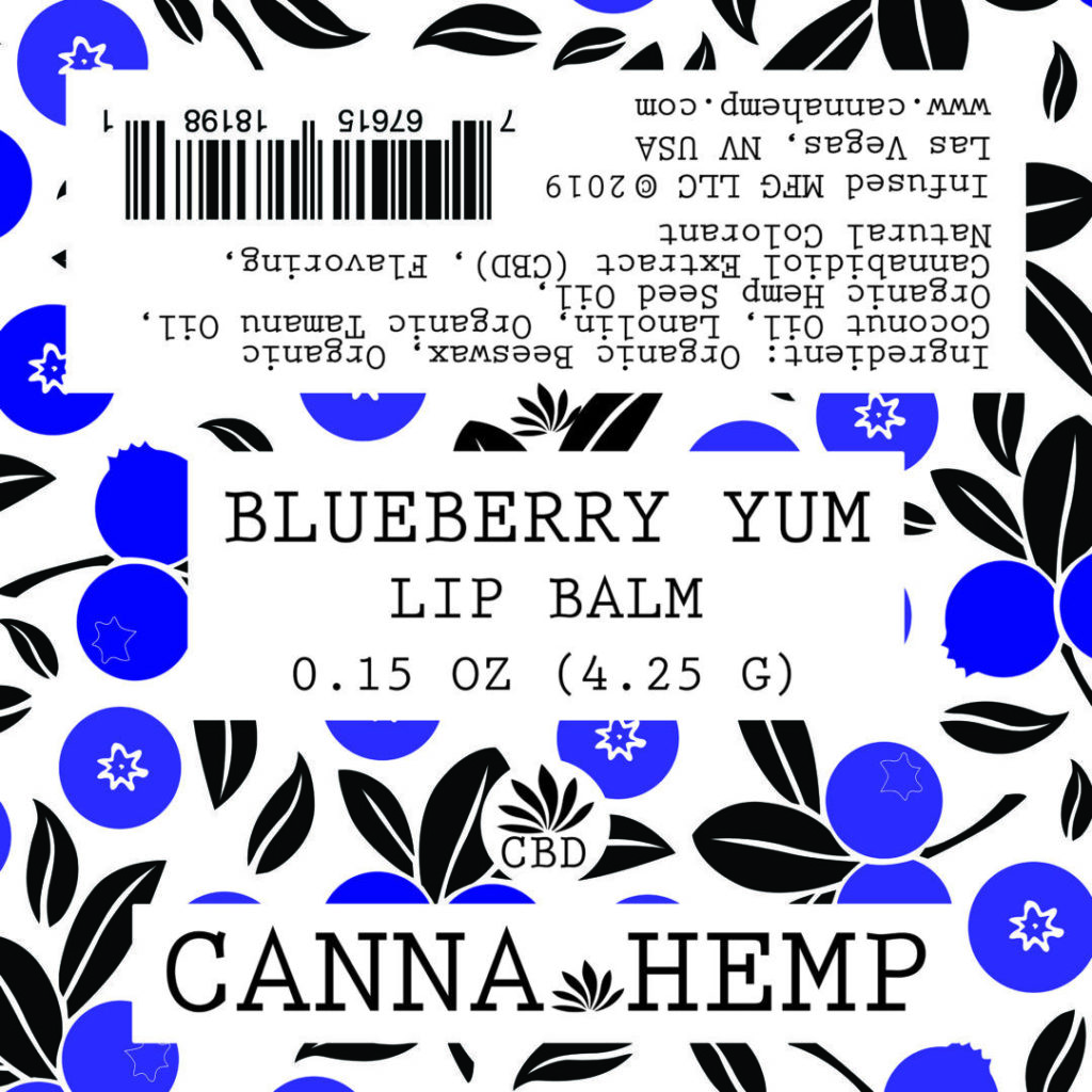 Canna Hemp Blueberry Yum Lip Balm label