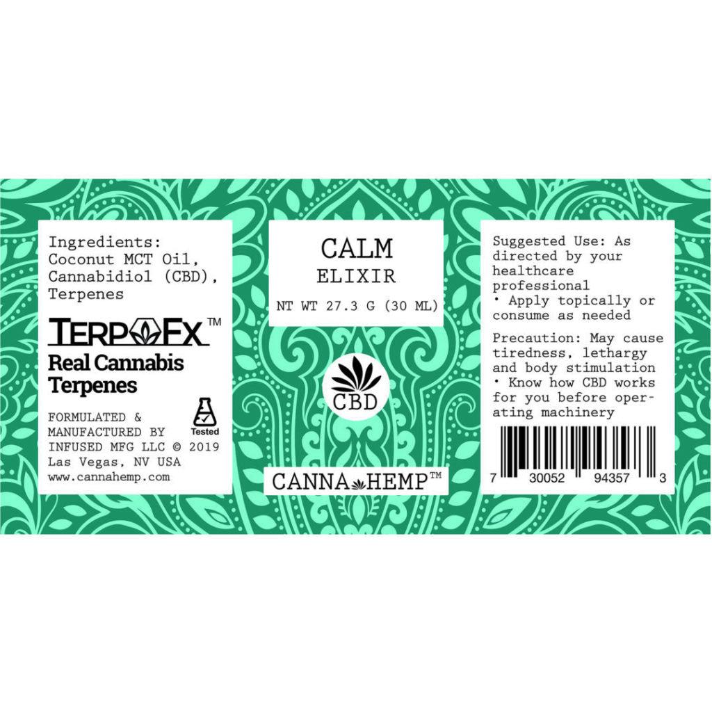 Canna Hemp Calm Elixir Label