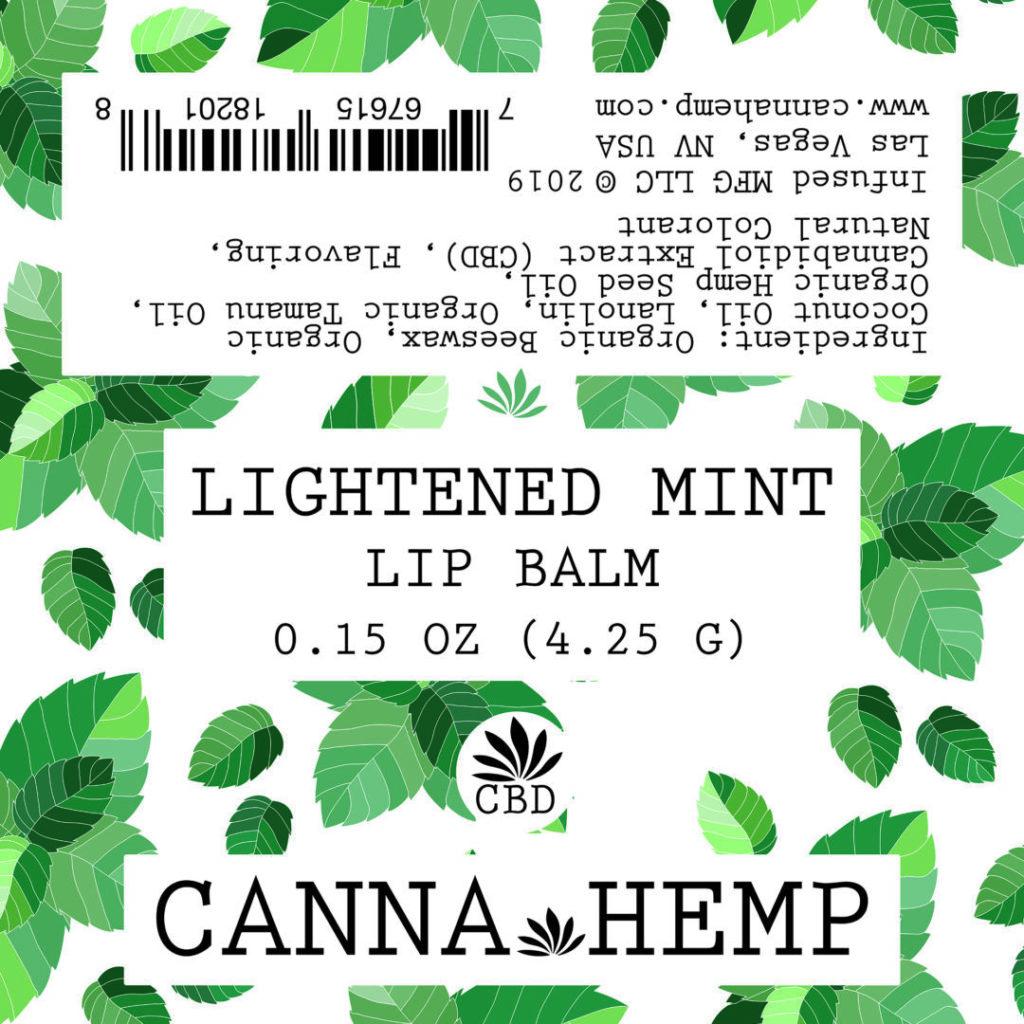 Canna Hemp Lightened Mint Lip Balm label