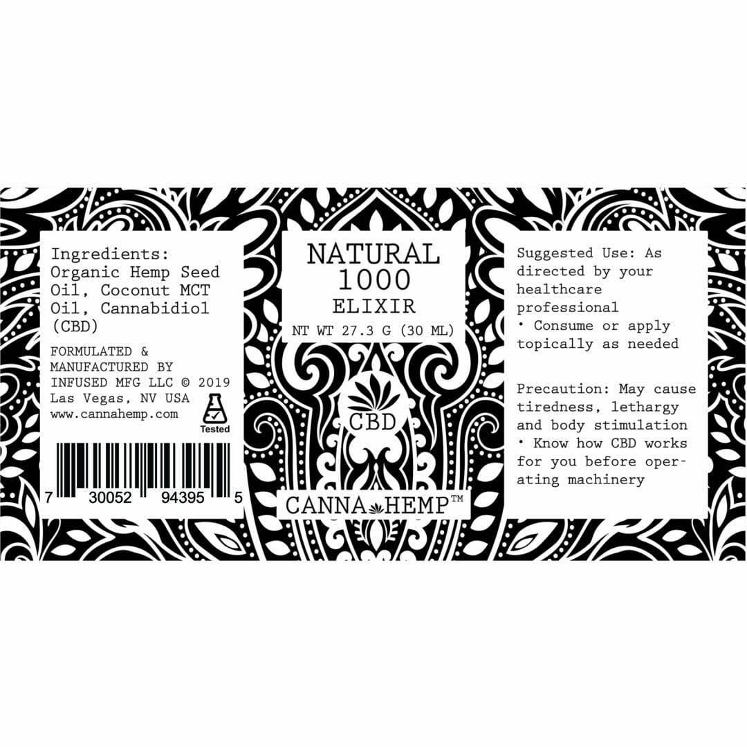 Canna Hemp Natural Elixir 1000 mg label
