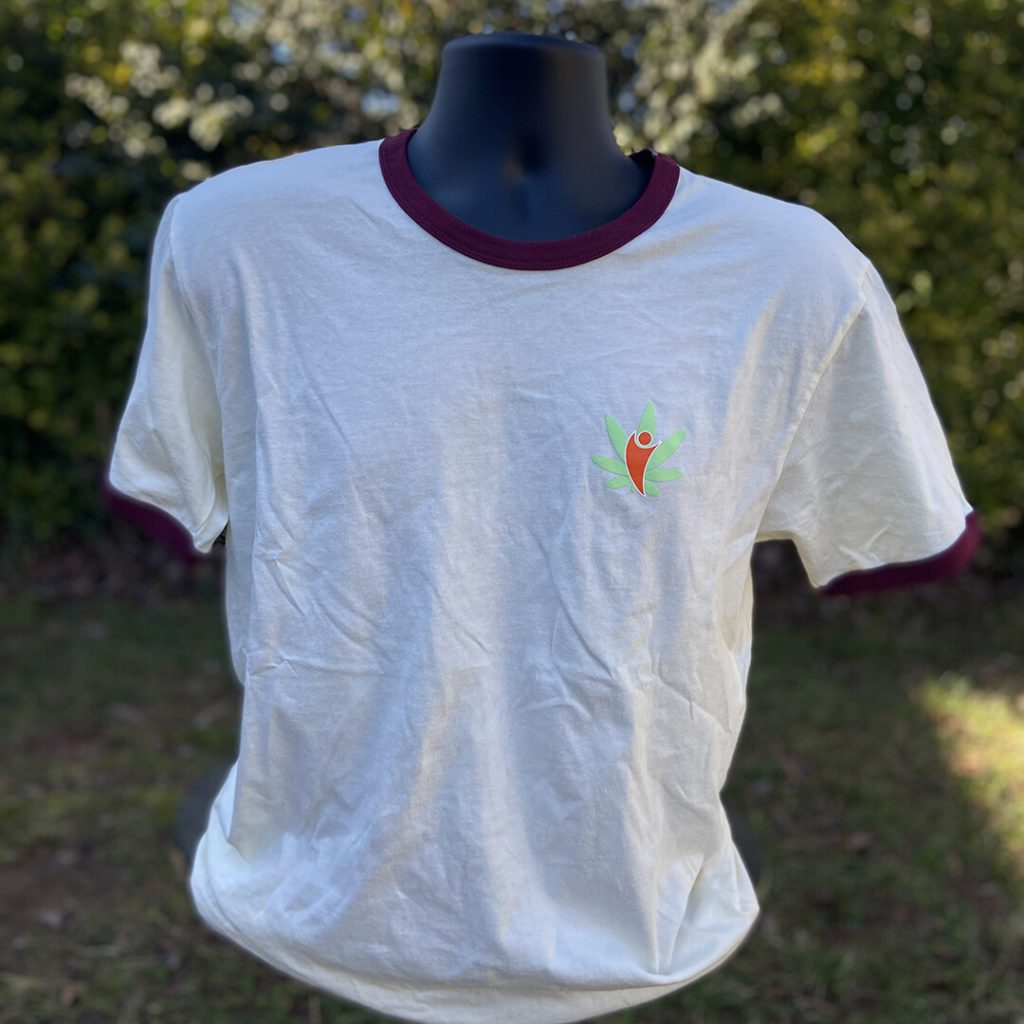 cannabdy branded shirt tan and maroon front