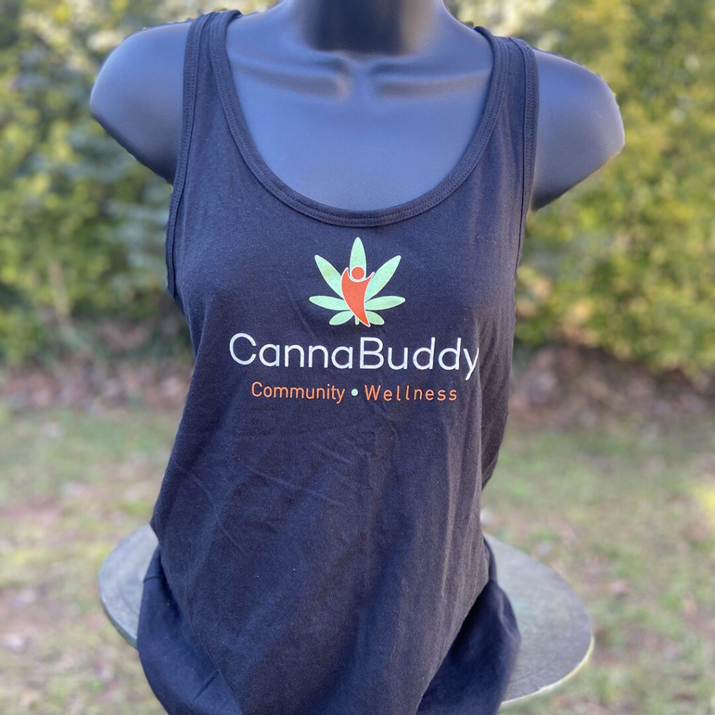 cannabdy branded womens racer back shirt black front