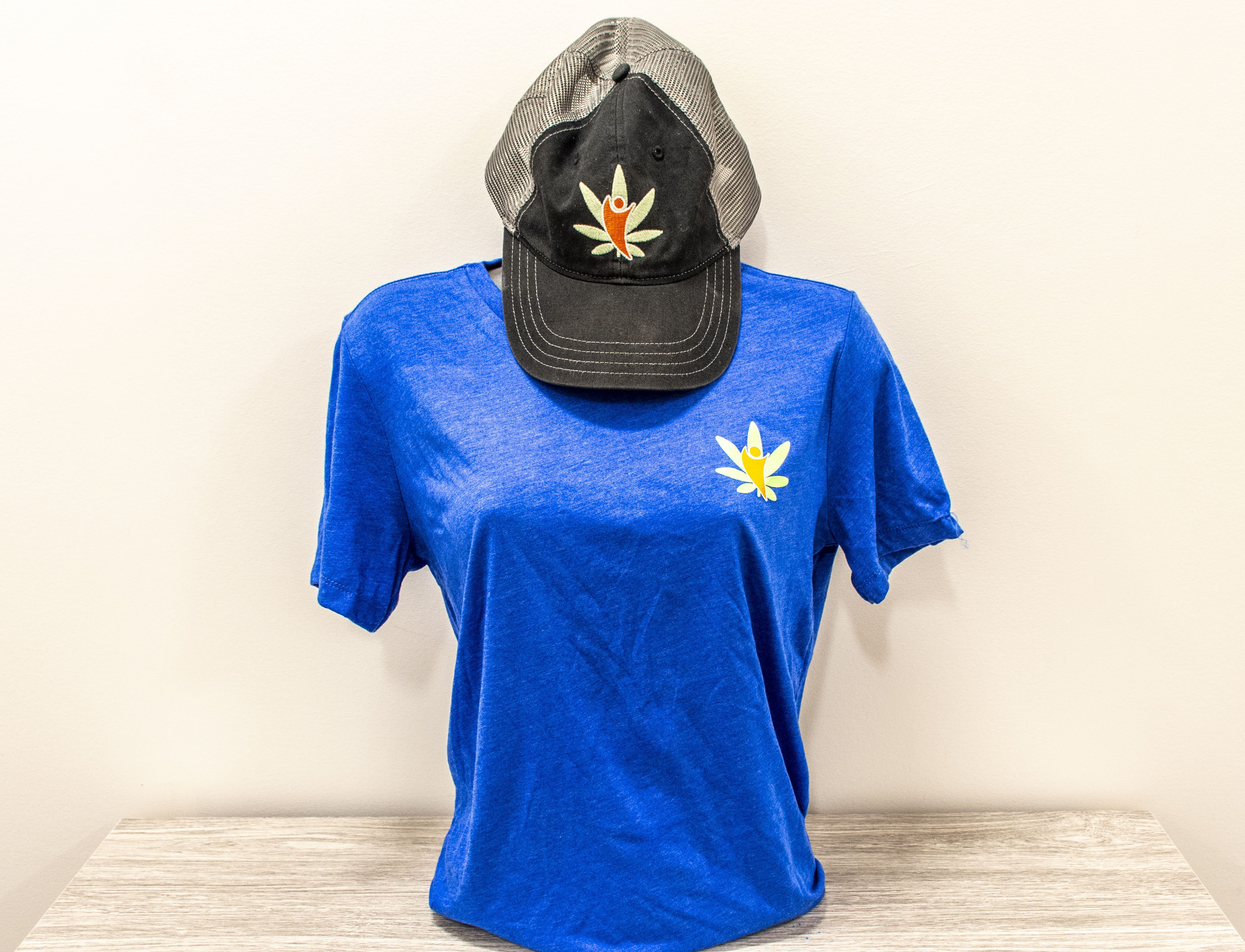 lady blue shirt