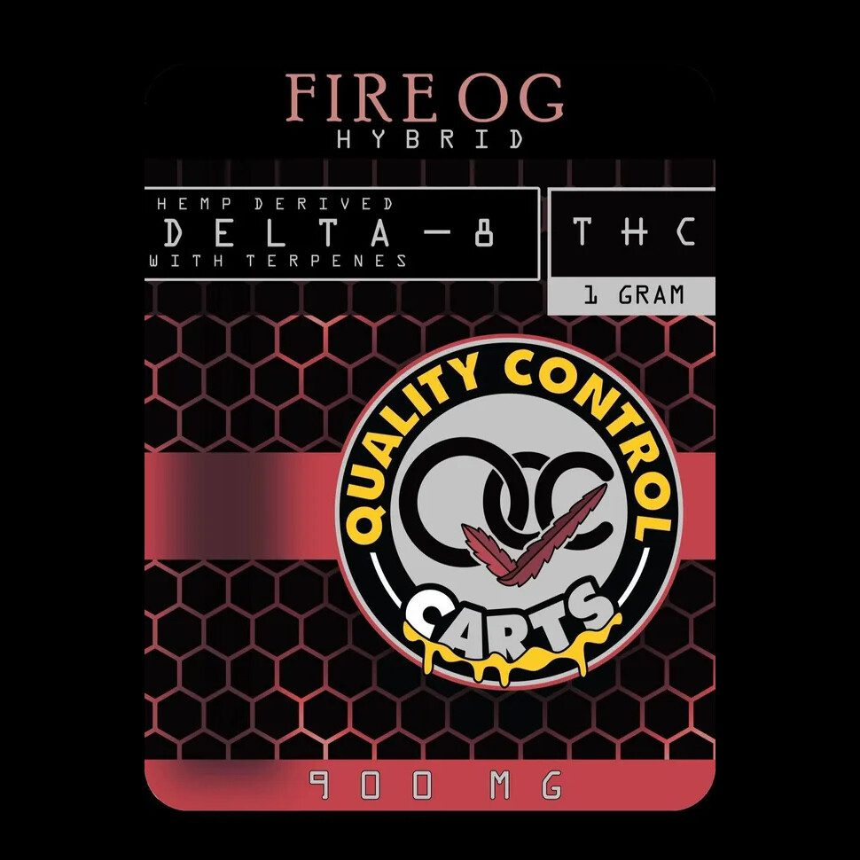 Quality Control Carts Fire OG Delta-8-THC Vape Cartridge Package Front