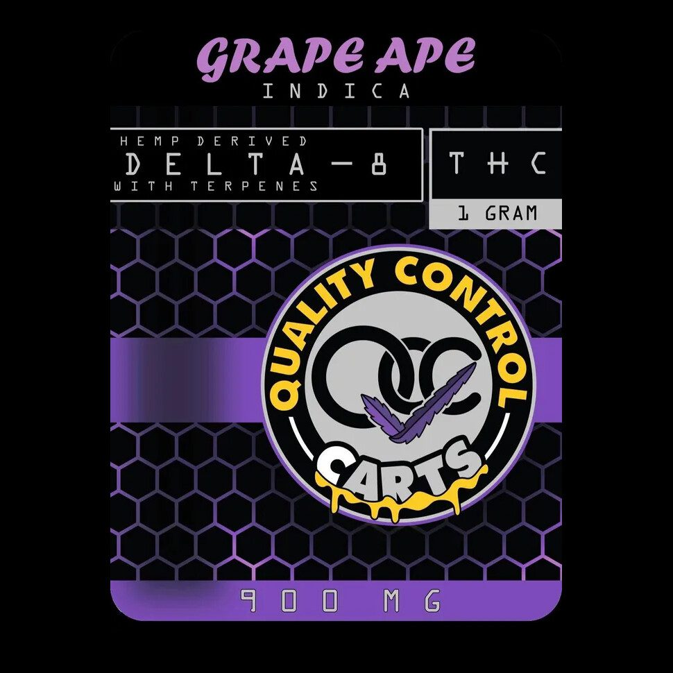 Quality Control Carts Grape Ape Delta-8-THC Vape Cartridge Package Front