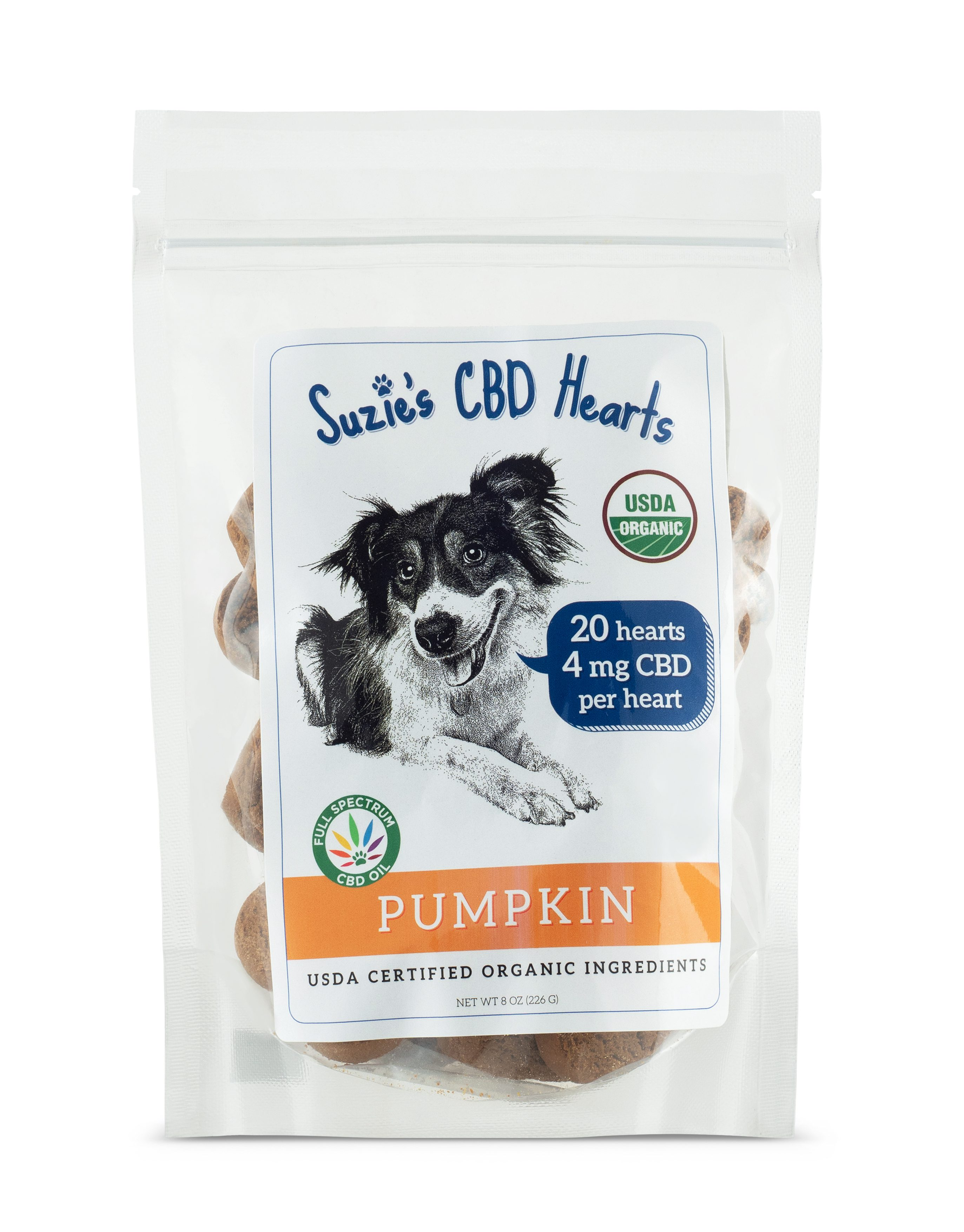 Suzie's CBD Treats 4 mg CBD Hearts Pumpkin Flavor