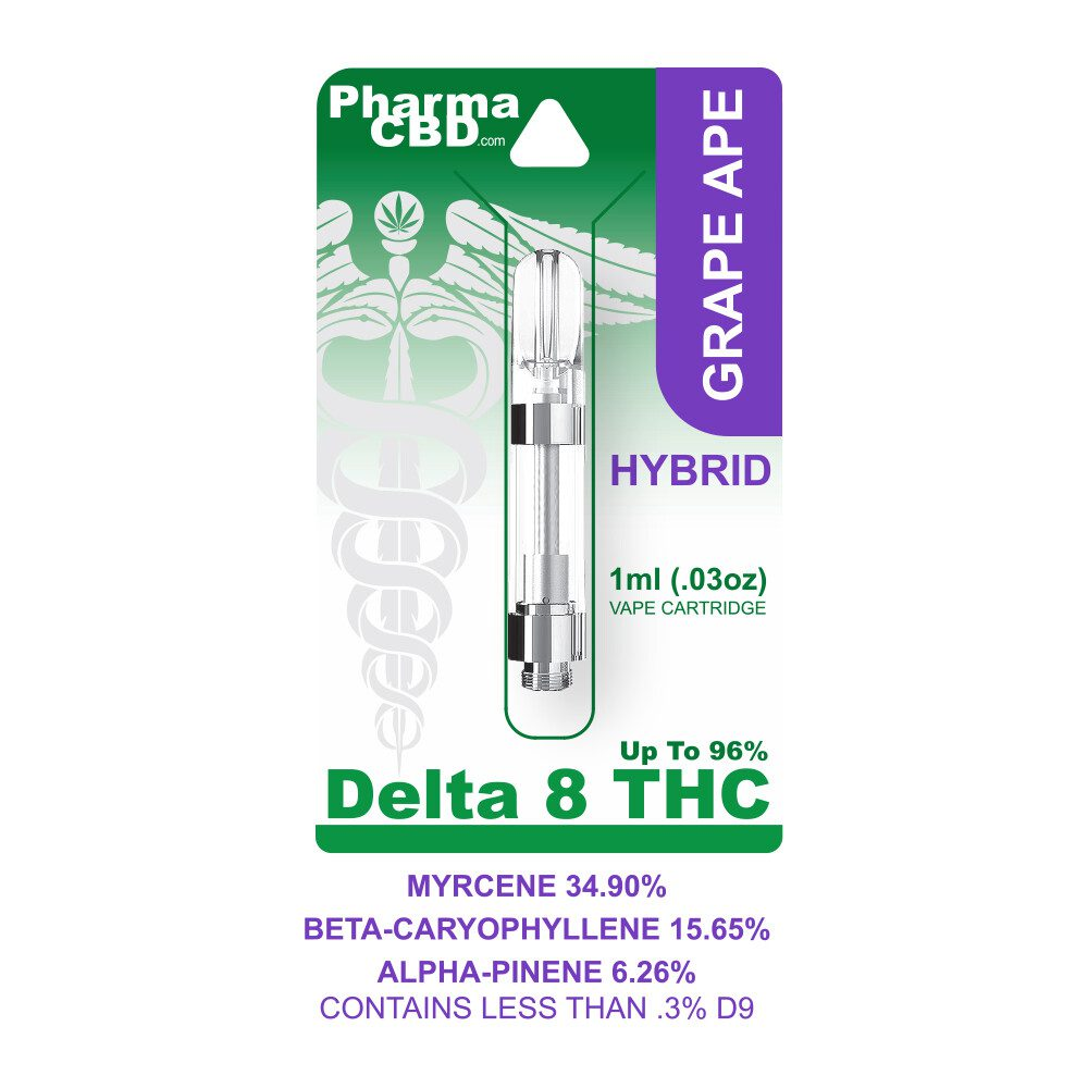 PharmaCBD Delta-8-THC Vape Cartridge - 1 ml - 900 mg - Grape Ape