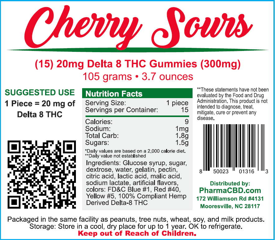 PharmaCBD Delta-8-THC Cherry Sours Label - 15 Count