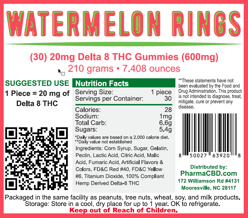 PharmaCBD Delta-8-THC Watermelon Rings Label - 30 Count