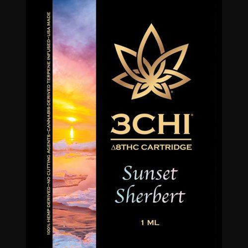 3Chi Sunset Sherbert Delta-8-THC Vape Cartridge with Cannabis Derived Terpenes
